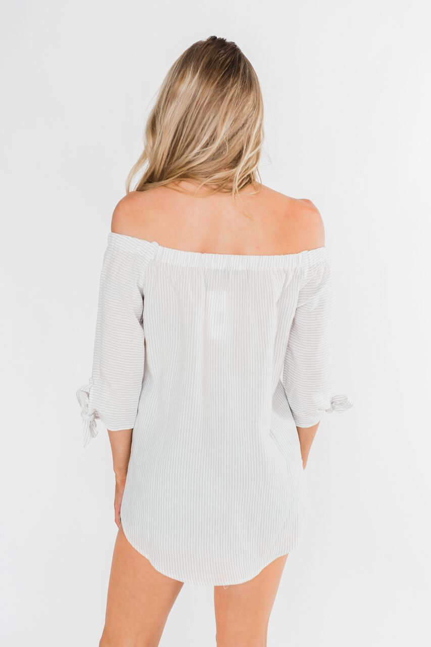 Off The Shoulder Striped Tie Sleeve Top- Ivory