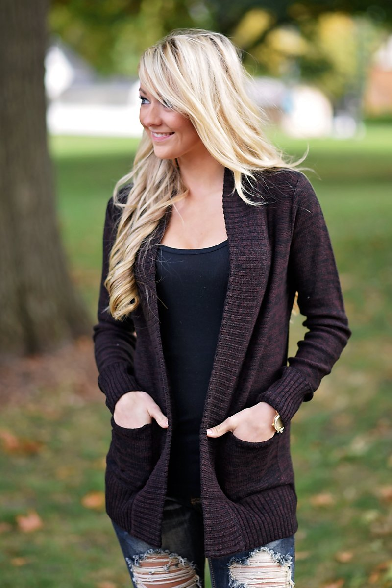 Hidden Treasure Cardigan ~ Maroon