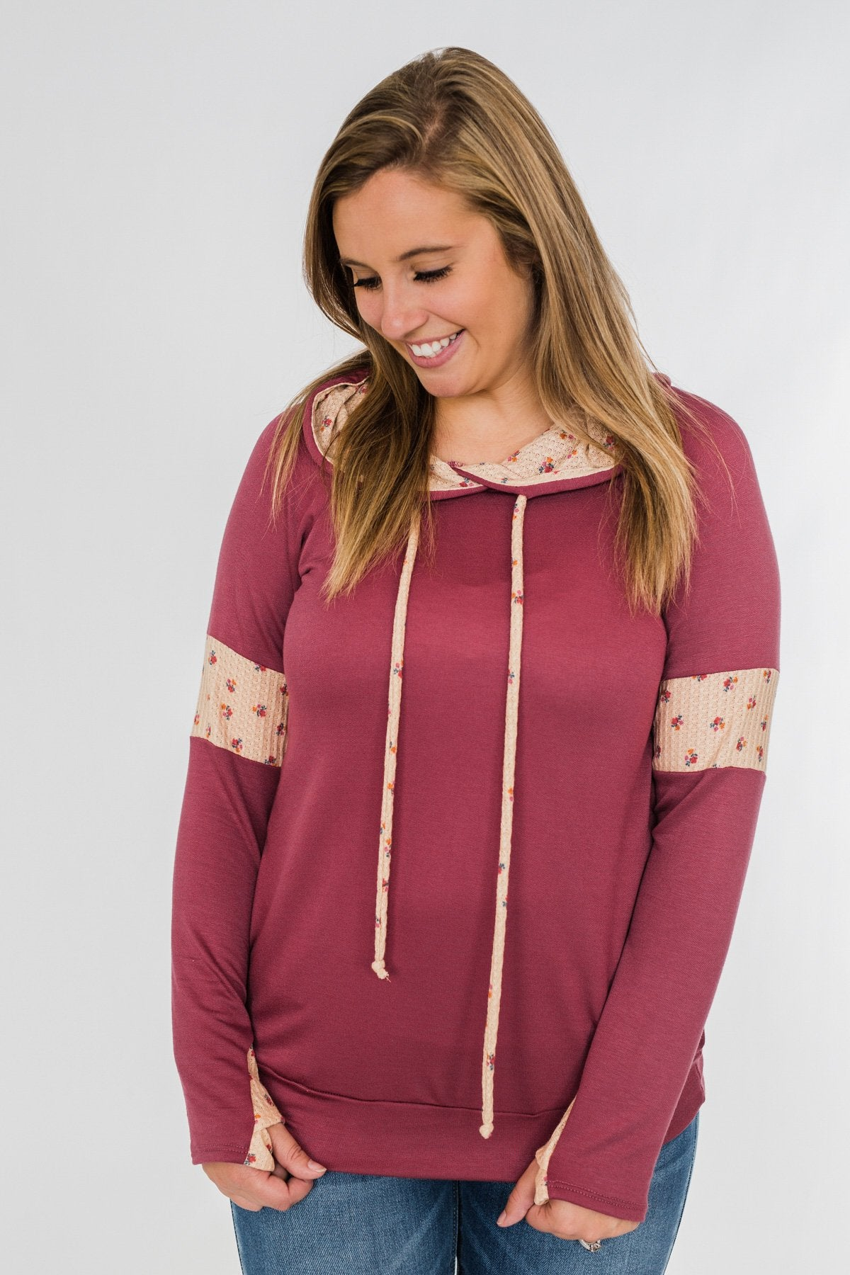Sweet To Me Drawstring Hoodie- Berry