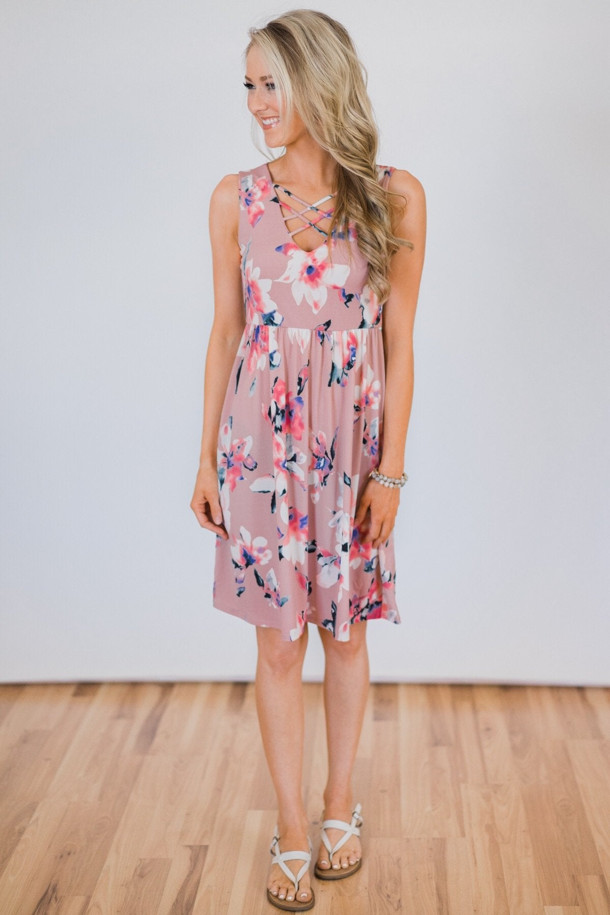 Baby, You're Beautiful Floral Dress- Powder Pink