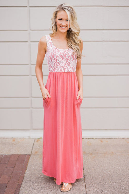 Loving Lace Maxi Dress- Melon Pink