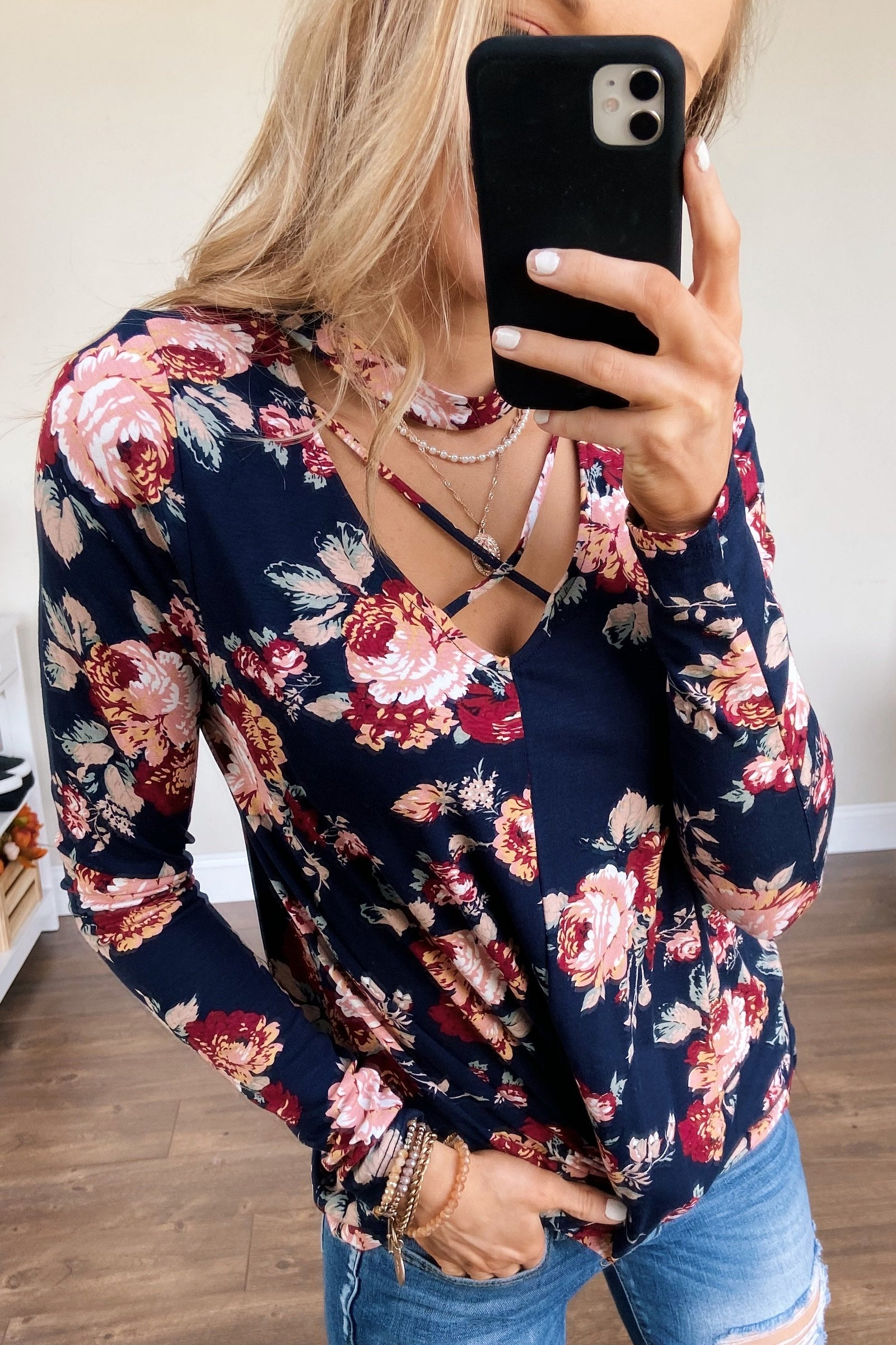 See You Later Criss Cross Floral Top- Navy