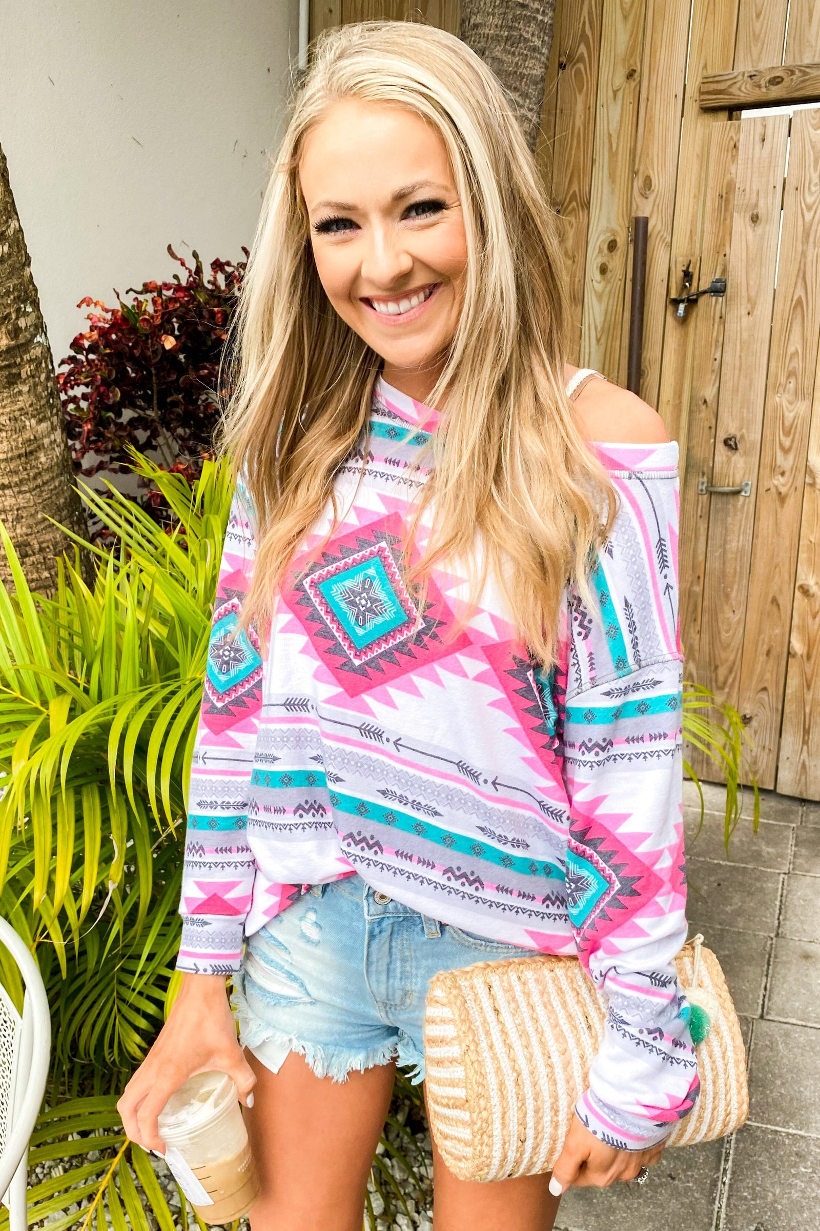Live For The Adventure Aztec Top- Ivory, Fuchsia, & Teal