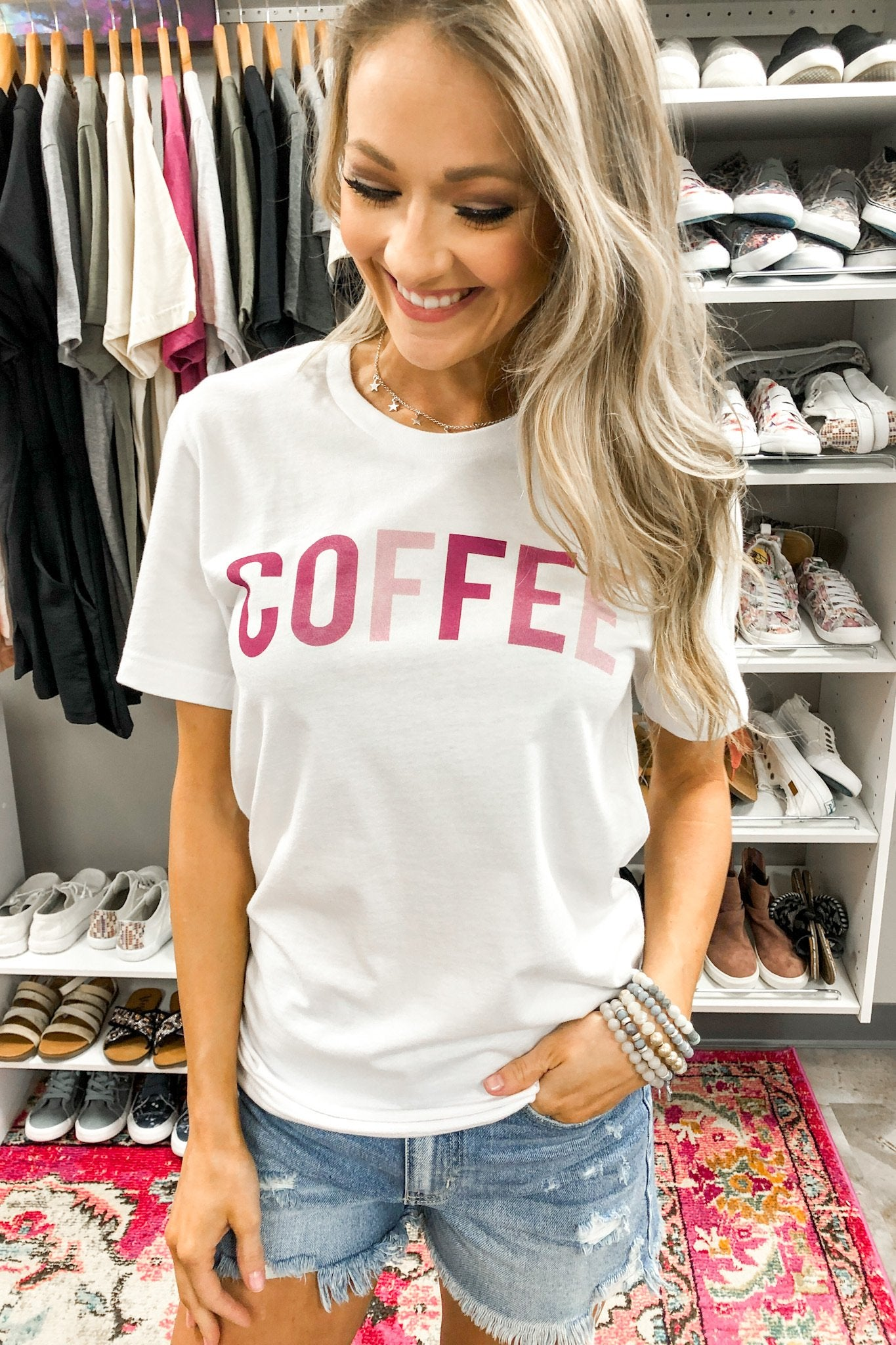 "Shades of Pink ""Coffee"" Graphic Tee- White"