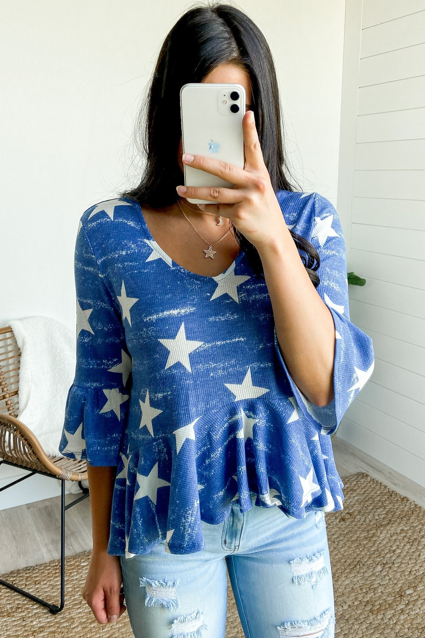 Babydoll Star Knit Top- Blue