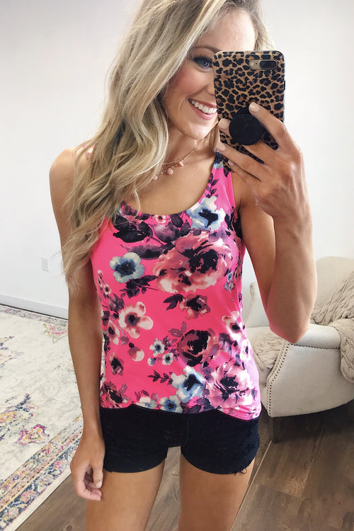 Easily Attracted Floral Tank Top- Neon Pink