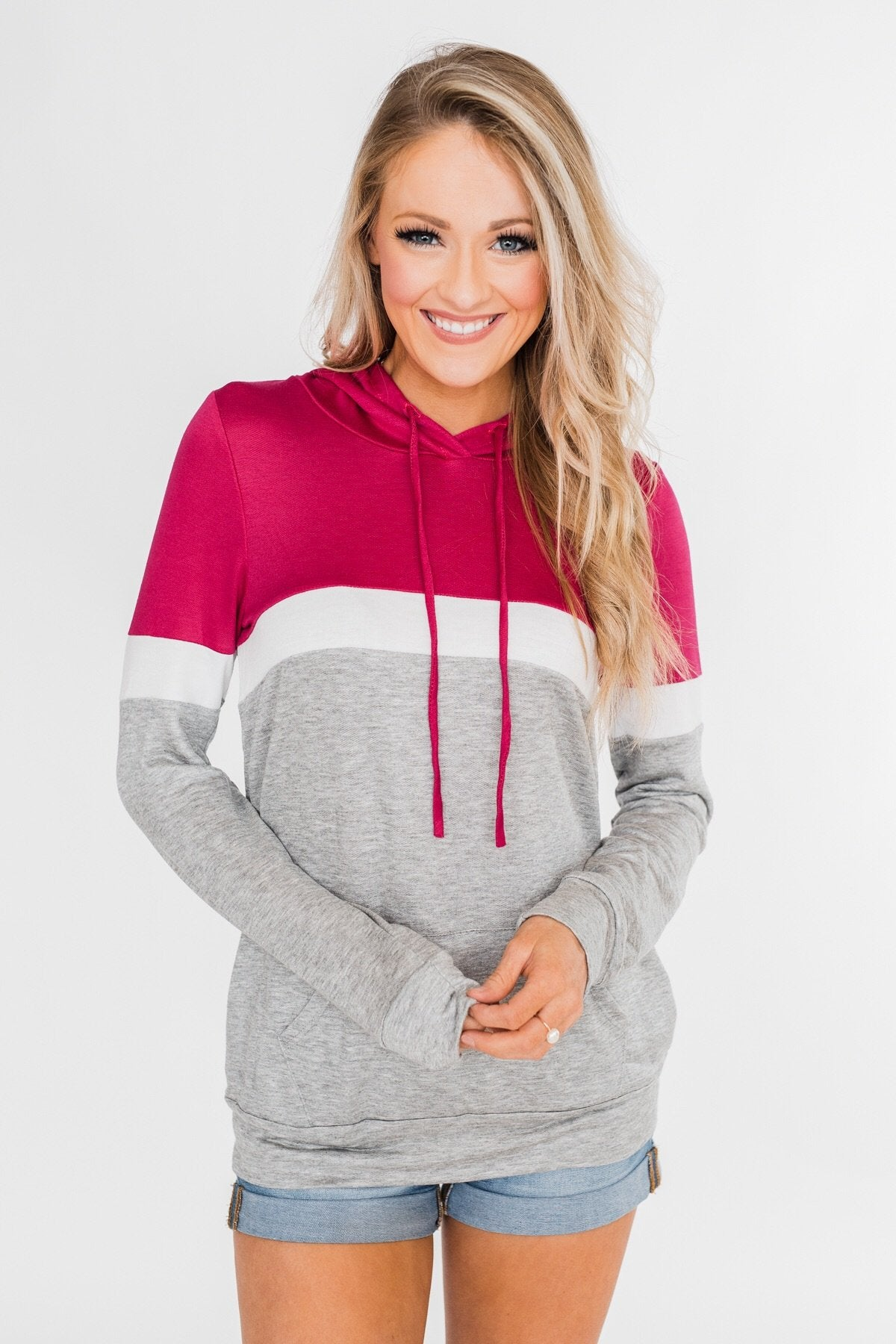 All Of My Days Color Block Hoodie - Dark Pink