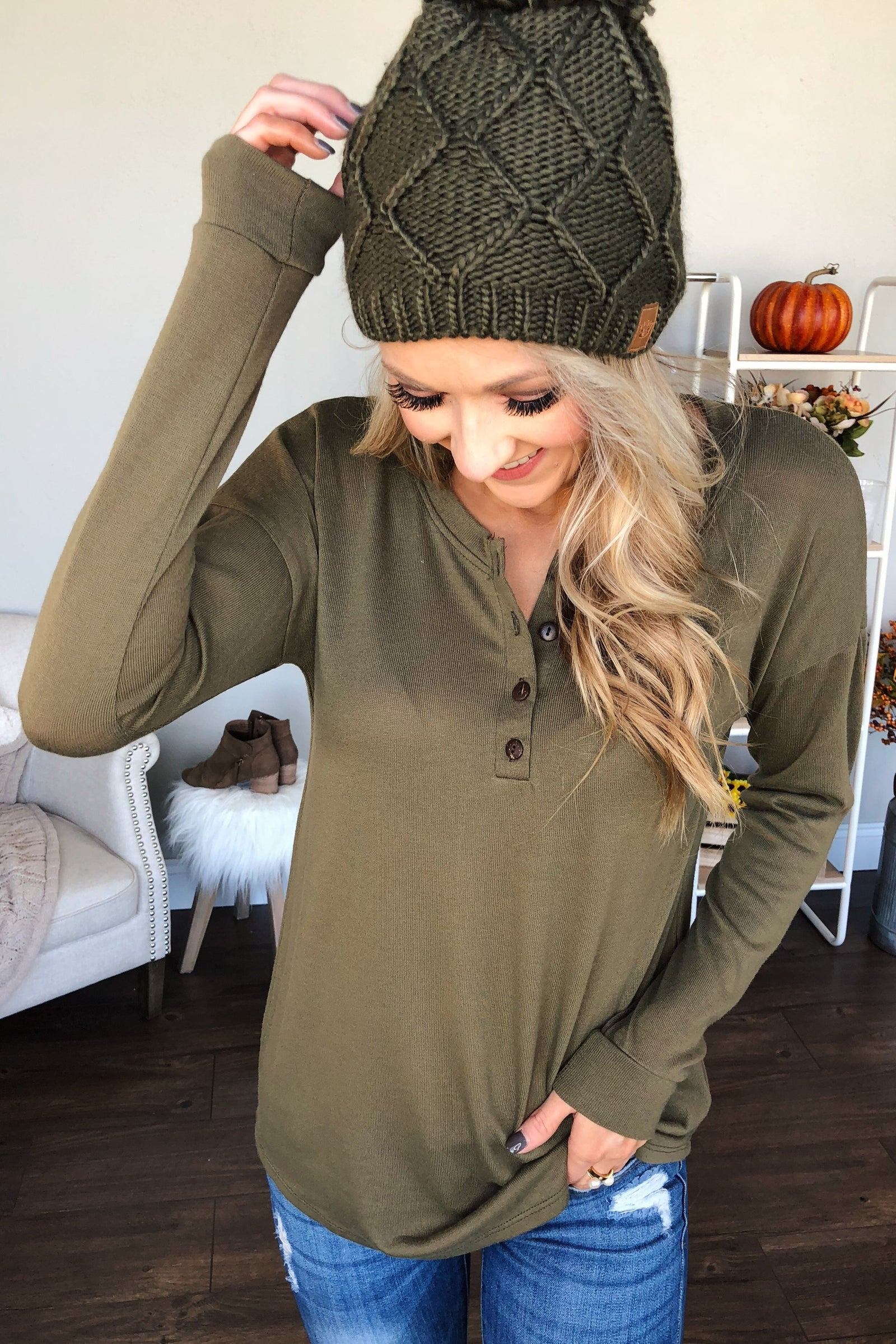 Cozy & Warm 4 Button Henley Top- Olive