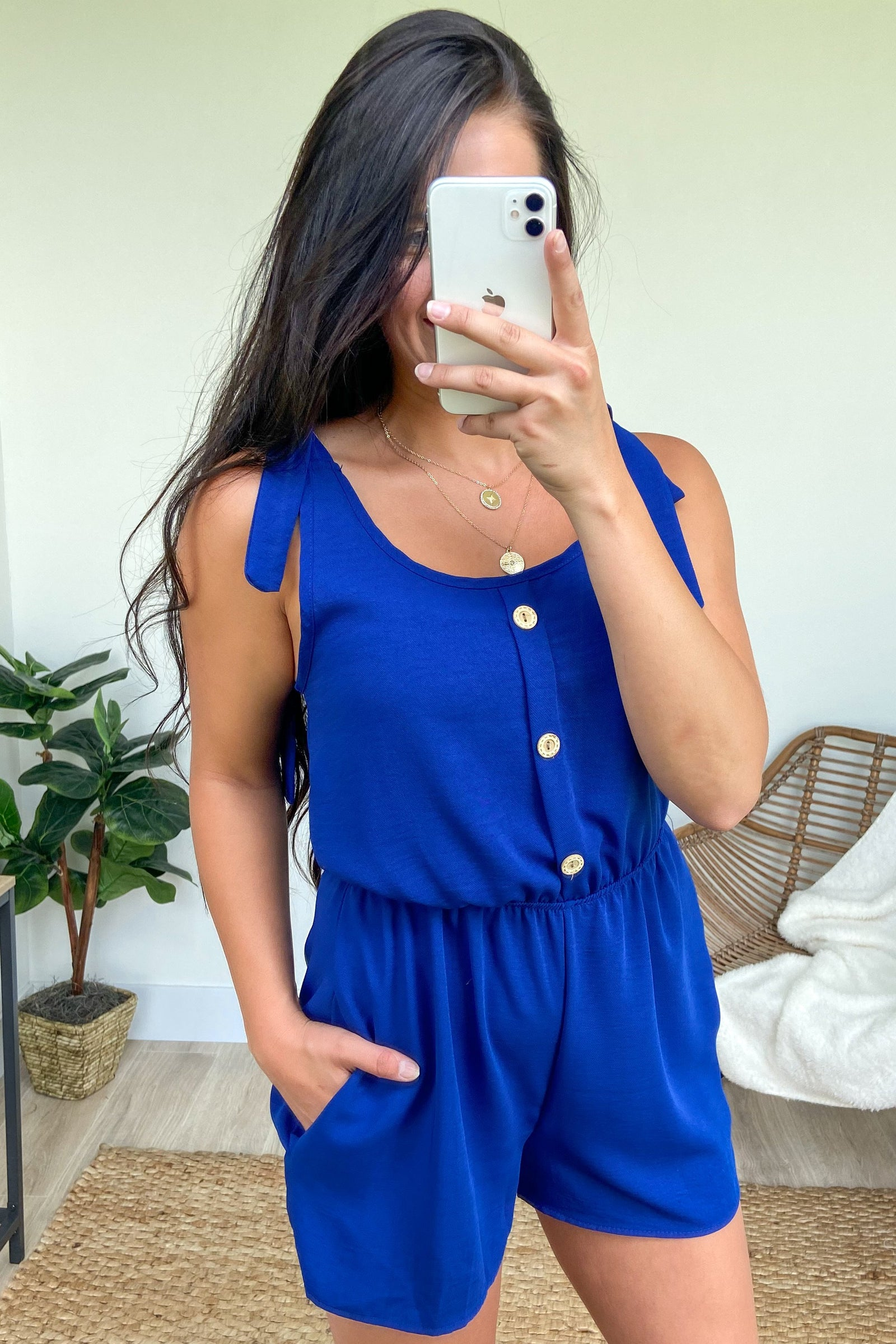 Tie Sleeve Cutie Romper- Royal Blue