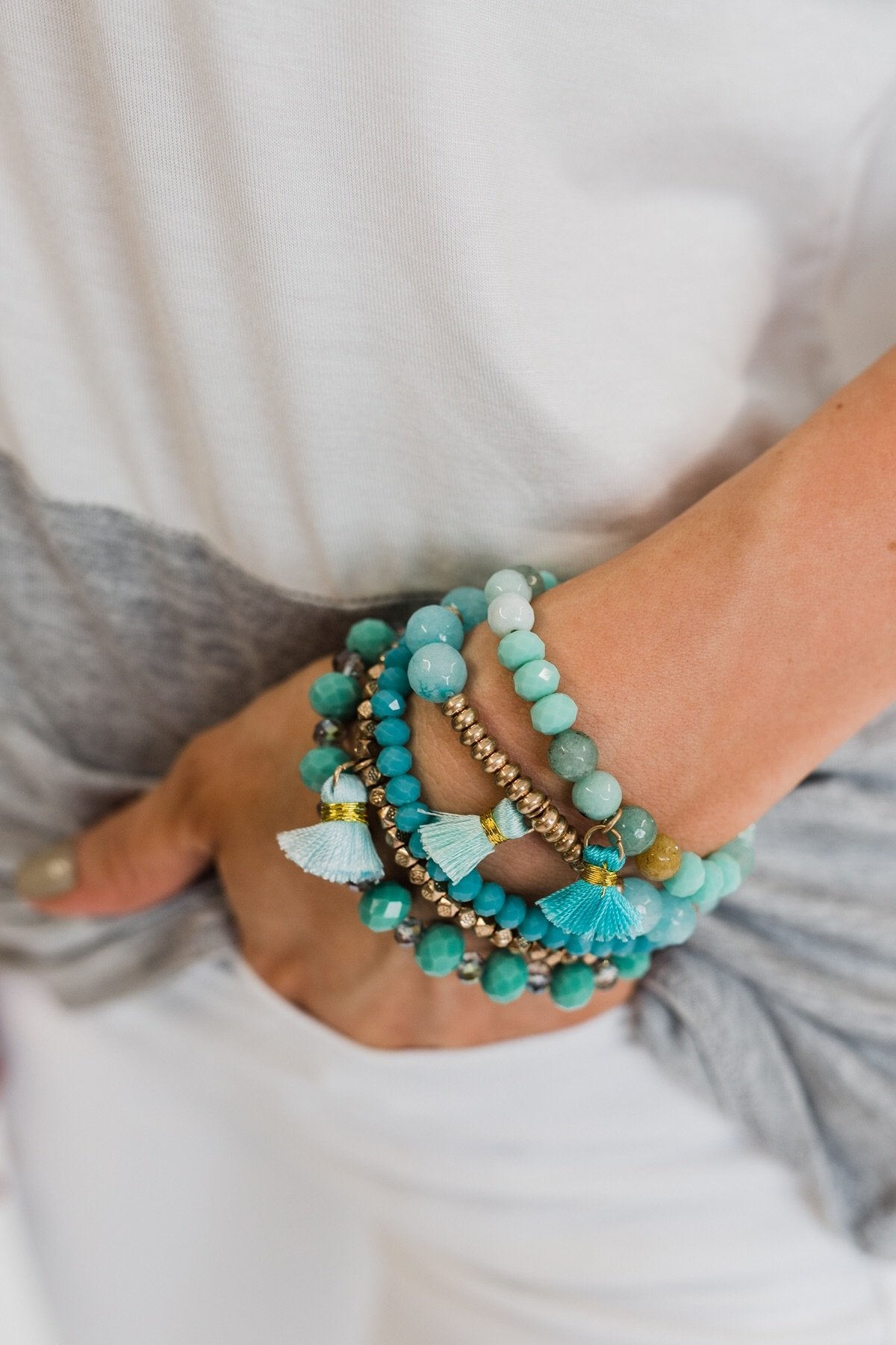 Tassels & Beads Bracelet Set- Gold & Teal