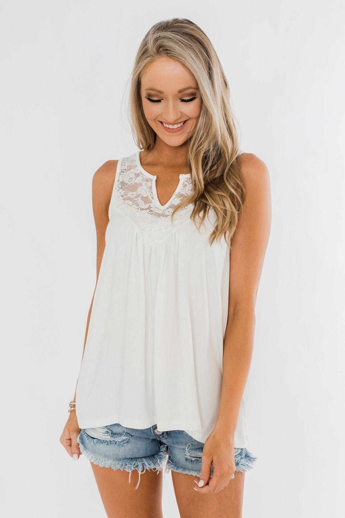 Wide Open Spaces Tank Top- Ivory