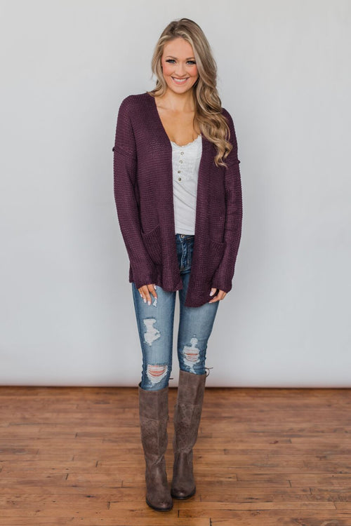 Caught Up In You V-Back Cardigan - Plum Outfit