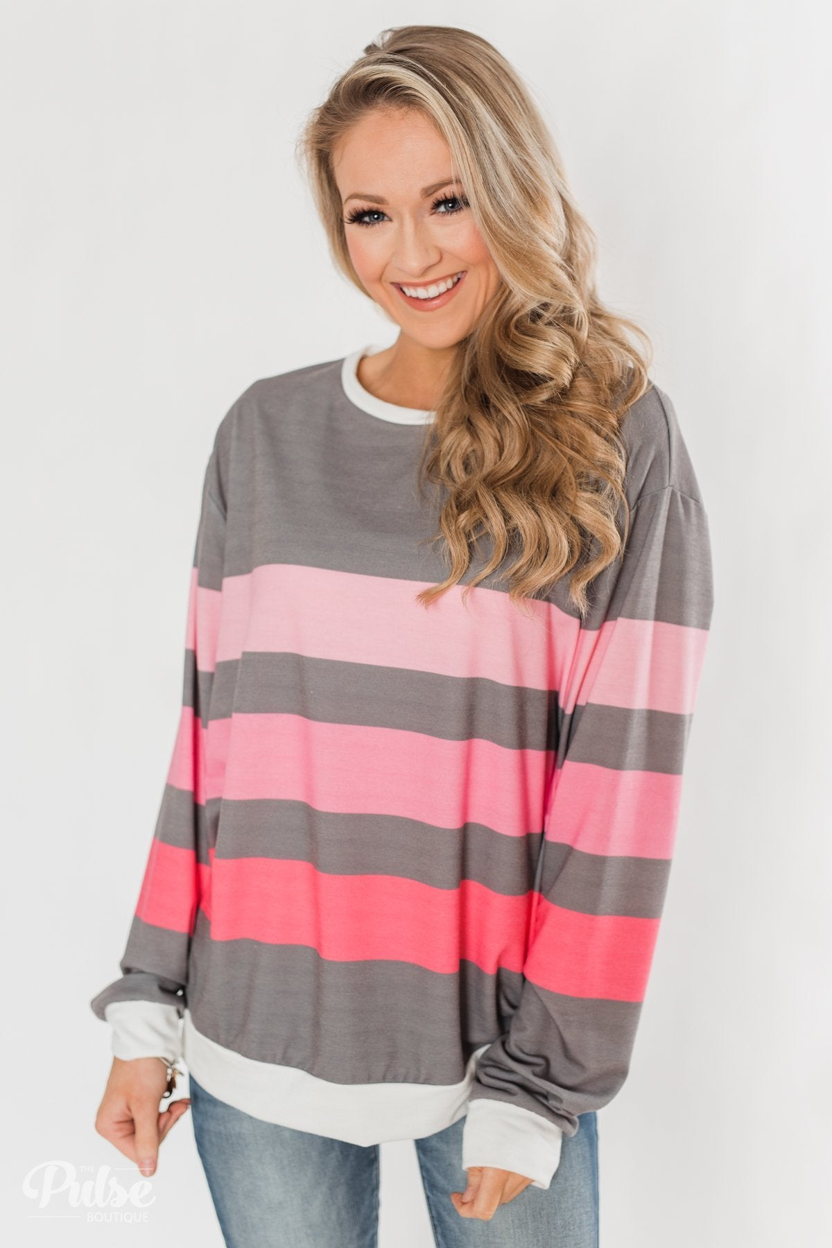 Spring's Pink Dream Striped Top - Comment Sold