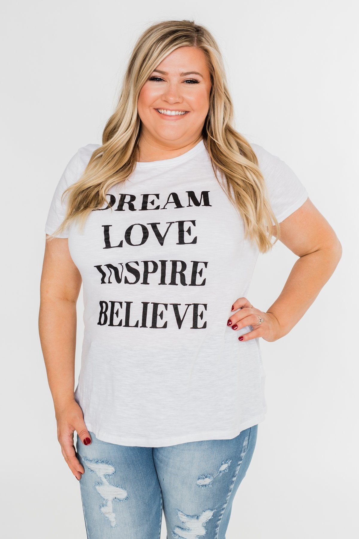 Dream, Love, Inspire, Believe Graphic Tee- White