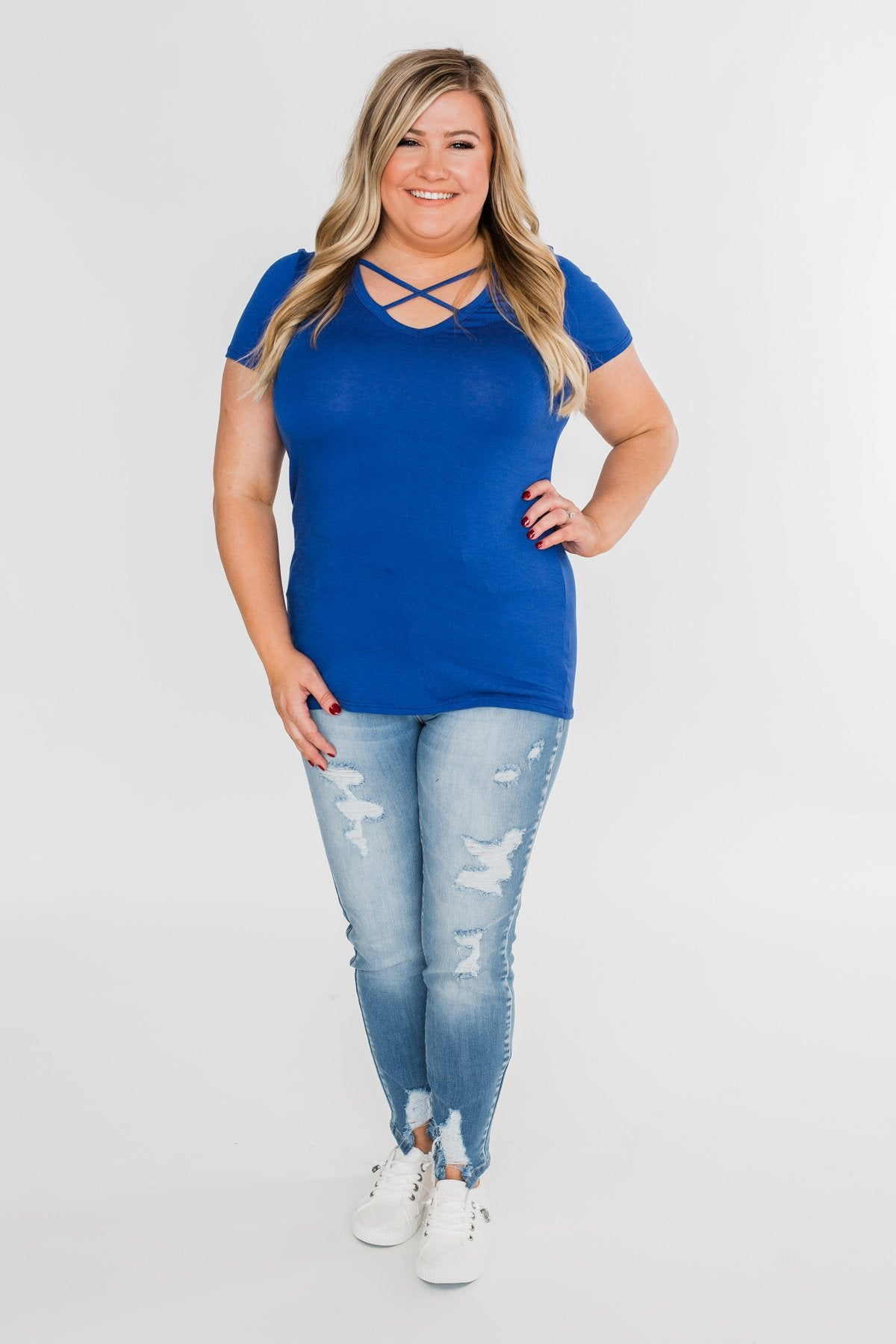 Deeply Impressed Criss Cross Top- Royal Blue