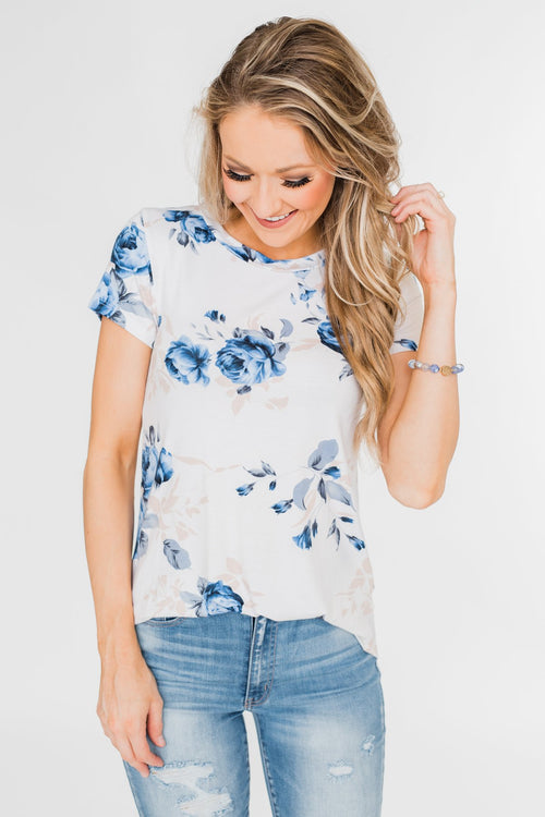 Floral Melody Short Sleeve Top- Eggshell White