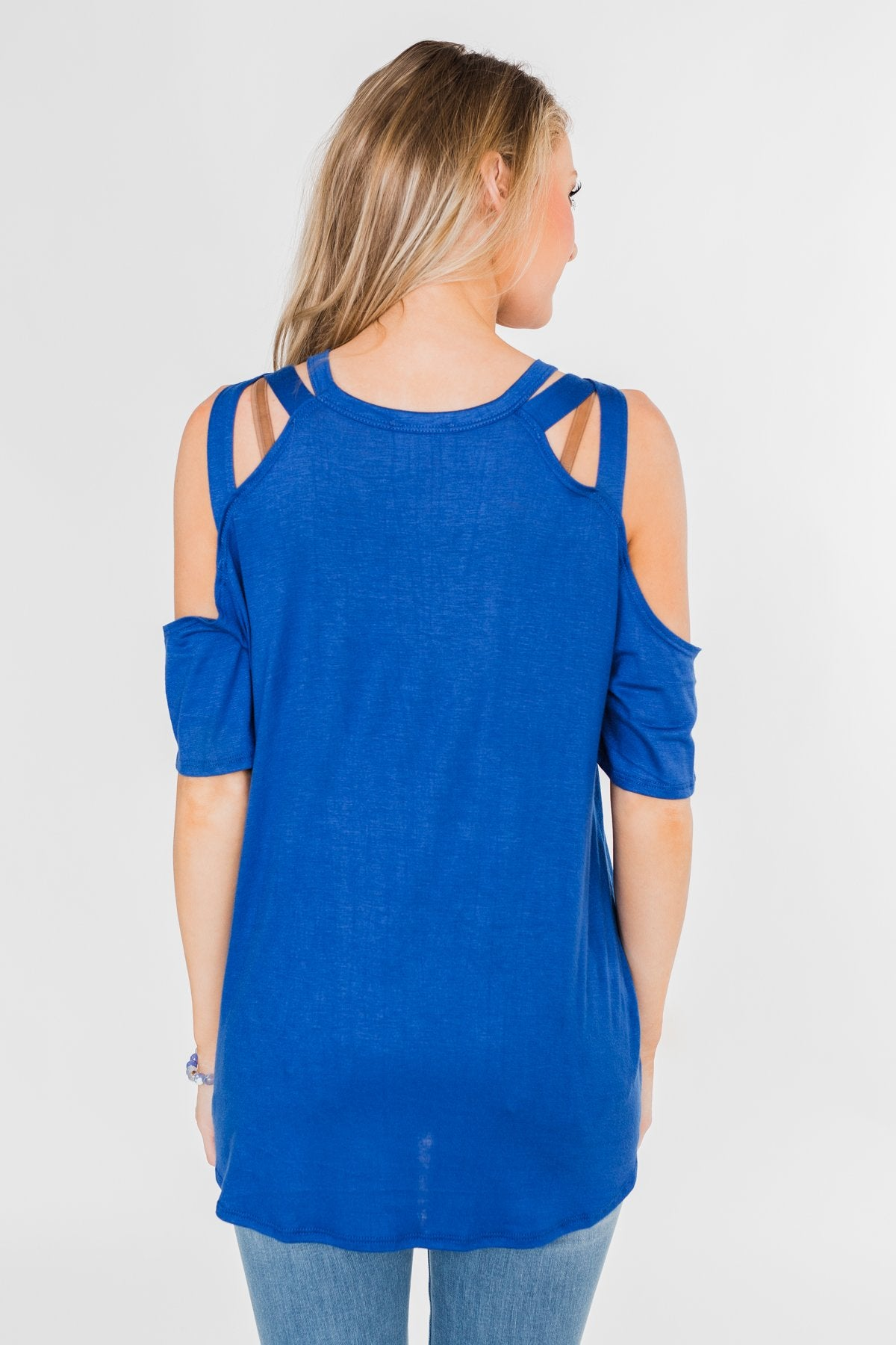 Feeling Alive Cold Shoulder Top- Royal Blue