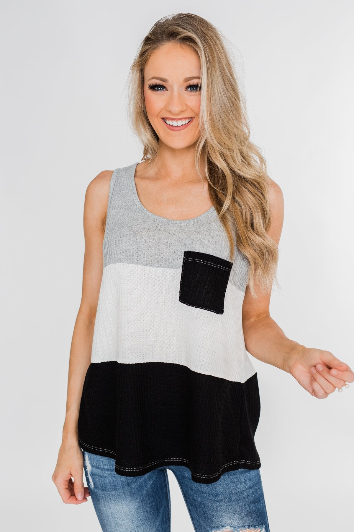 Waffle Knit Color Block Tank Top- Black, Grey, and White