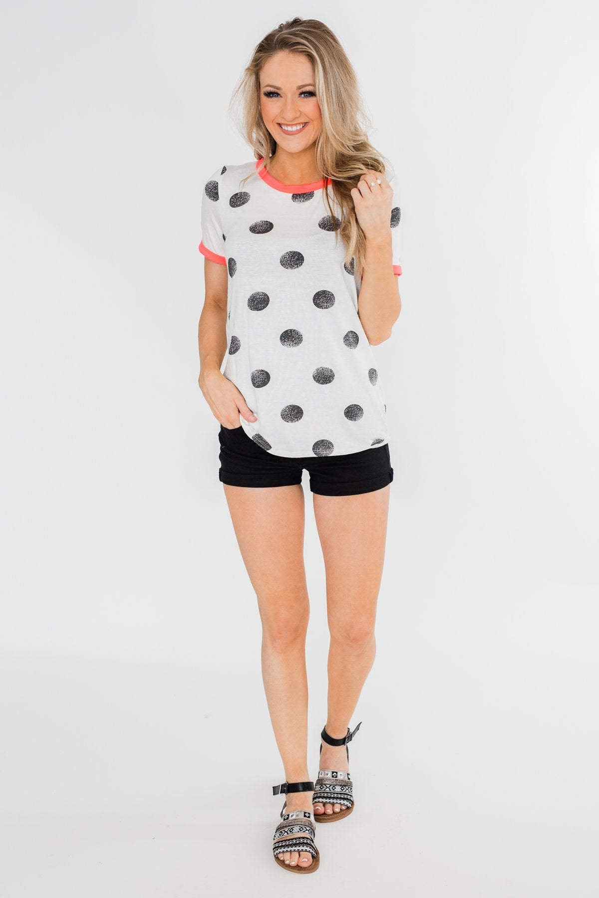 Faded Polka Dot Short Sleeve Top- Ivory & Hot Pink