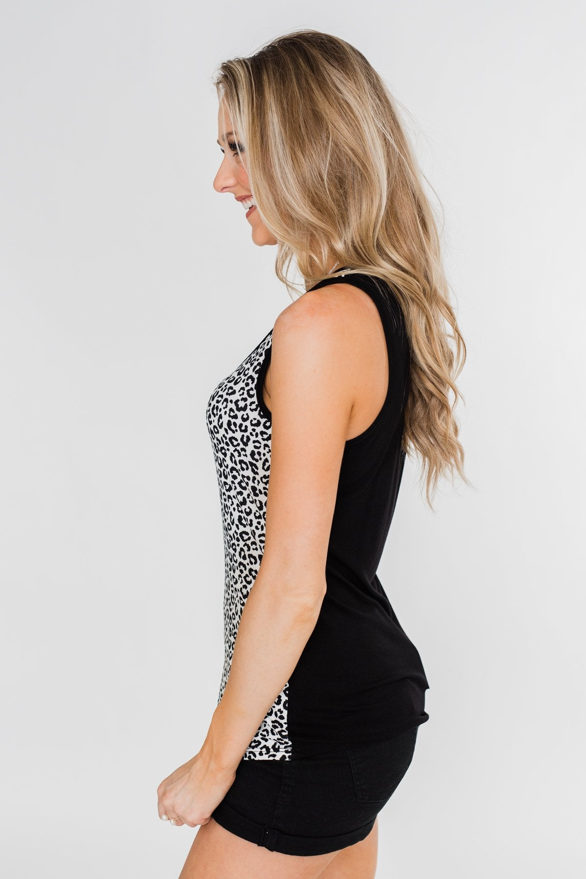 White Leopard Zipper Tank Top- Black and White
