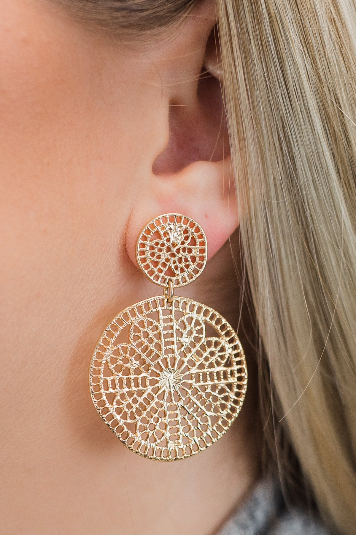 All in the Design Earrings- Gold