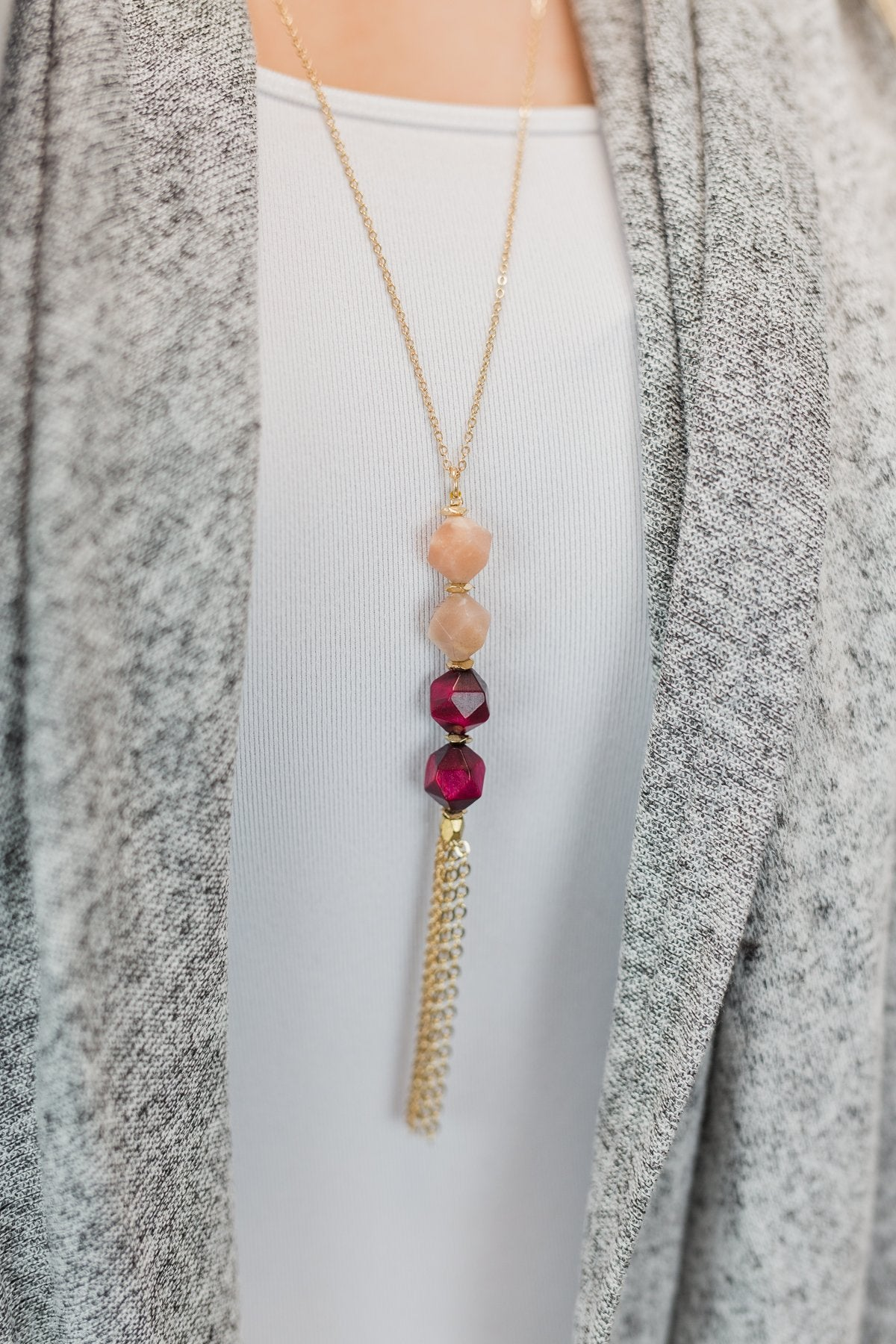 Two Toned Beaded Gold Necklace