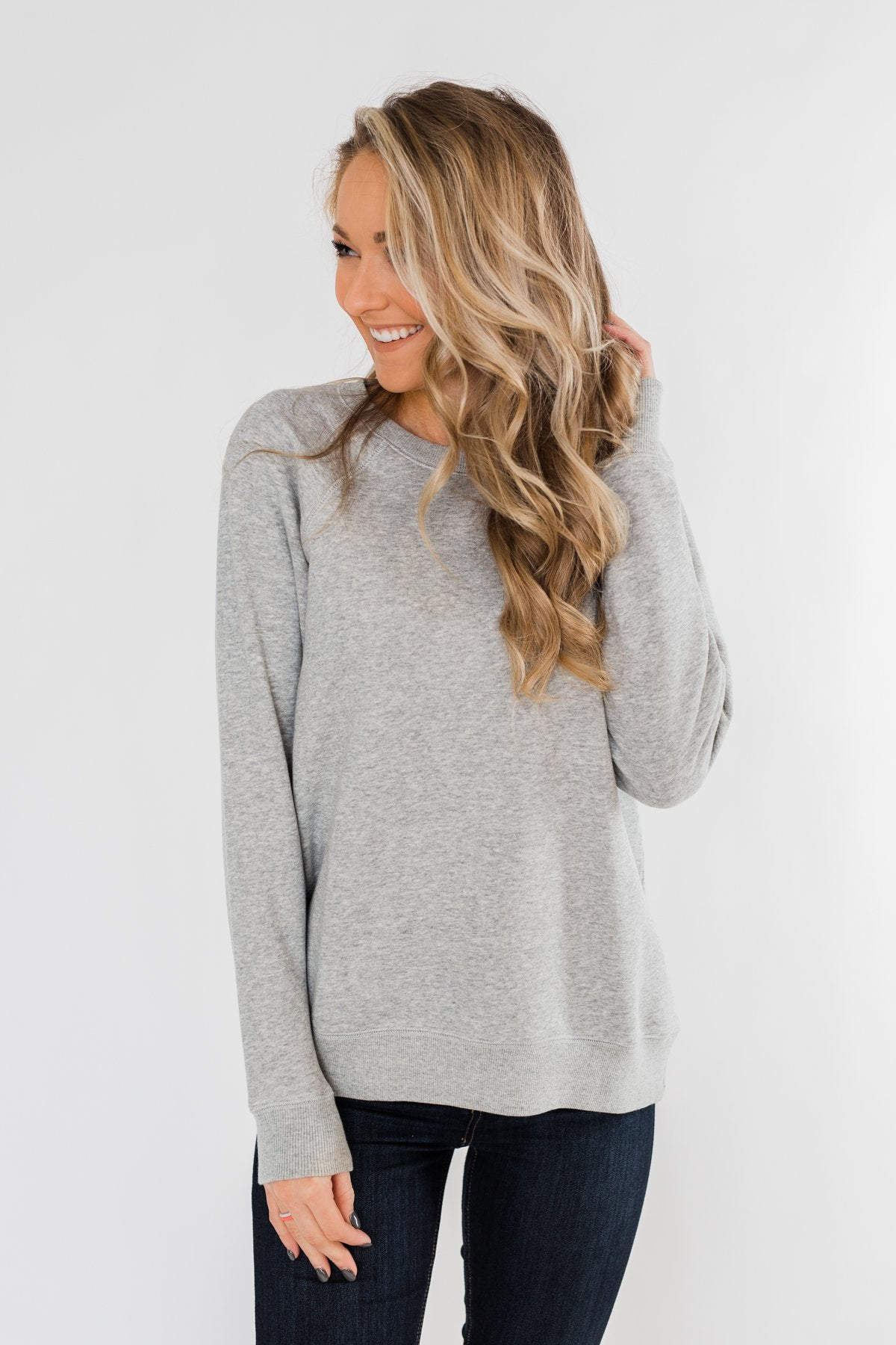 Pulse Basics Crew Neck Pullover- Heather Gray