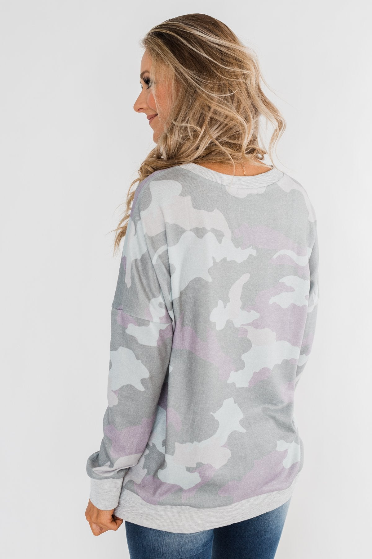 Camo Print Long Sleeve Top- Purple