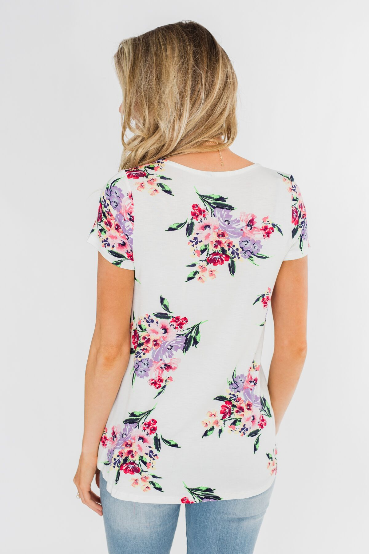 Feeling the Floral Criss-Cross Top- Ivory