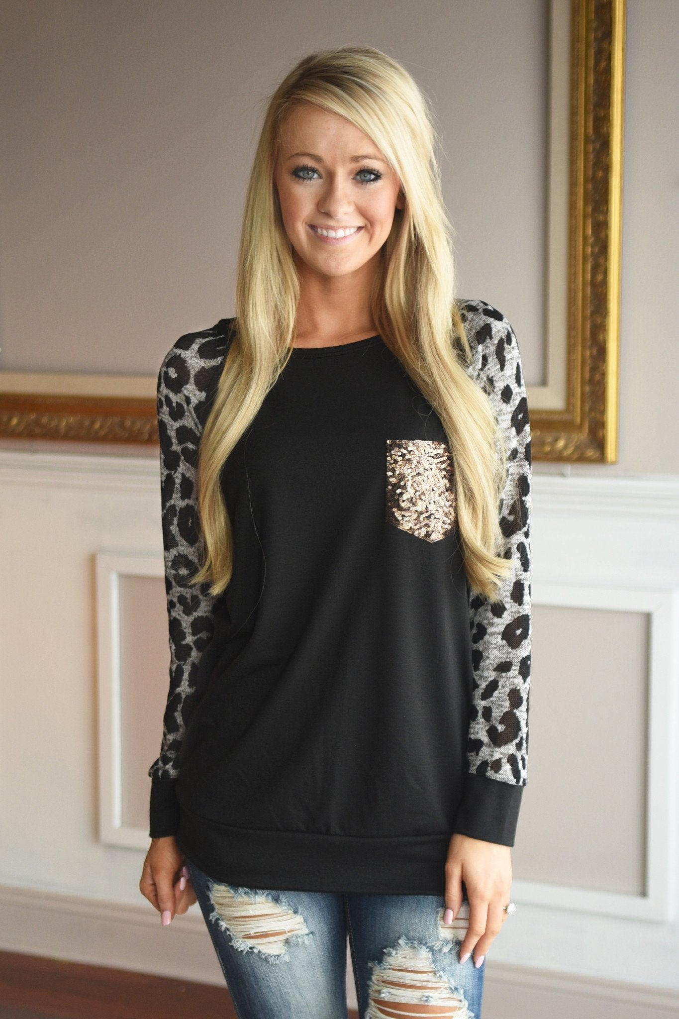 Leopard Bling Top ~ Grey
