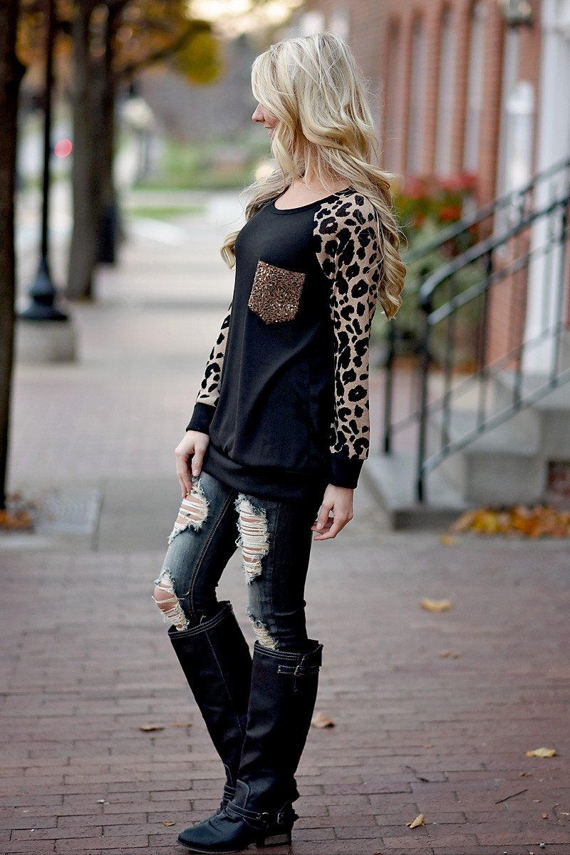 Leopard Bling Top ~ Mocha