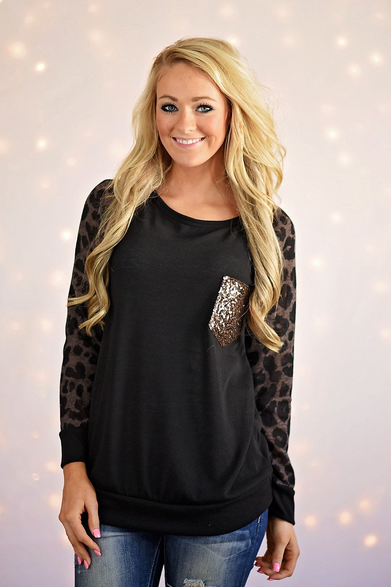 Leopard Bling Top ~ Coffee