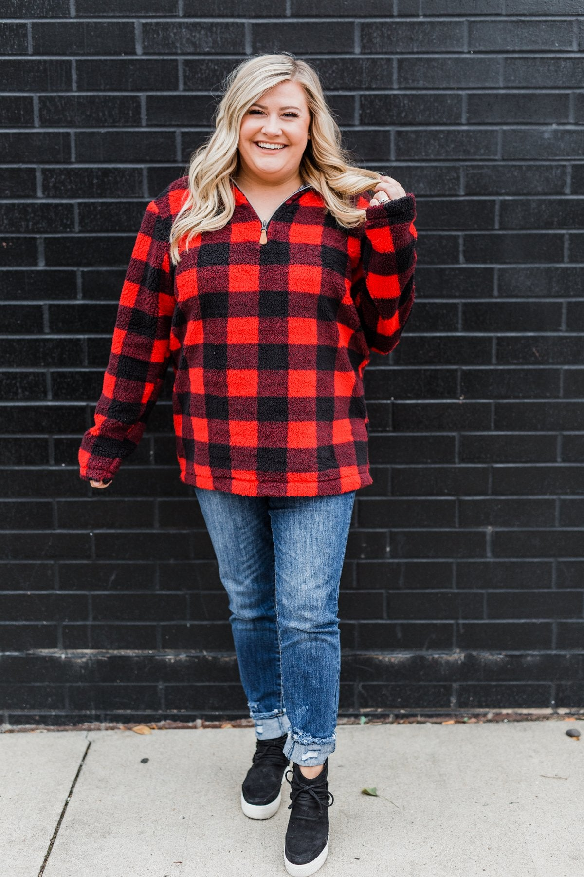 1/4 Zip Sherpa Pullover- Buffalo Plaid