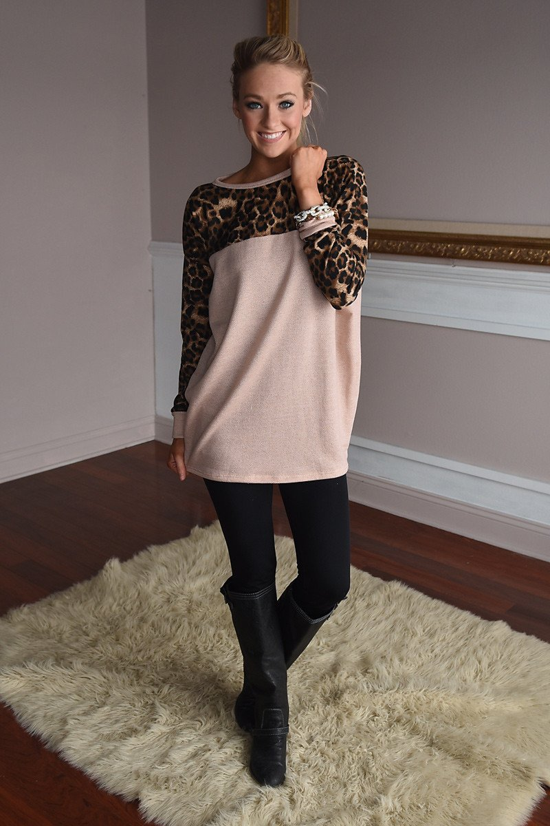 Light Taupe Leopard Top