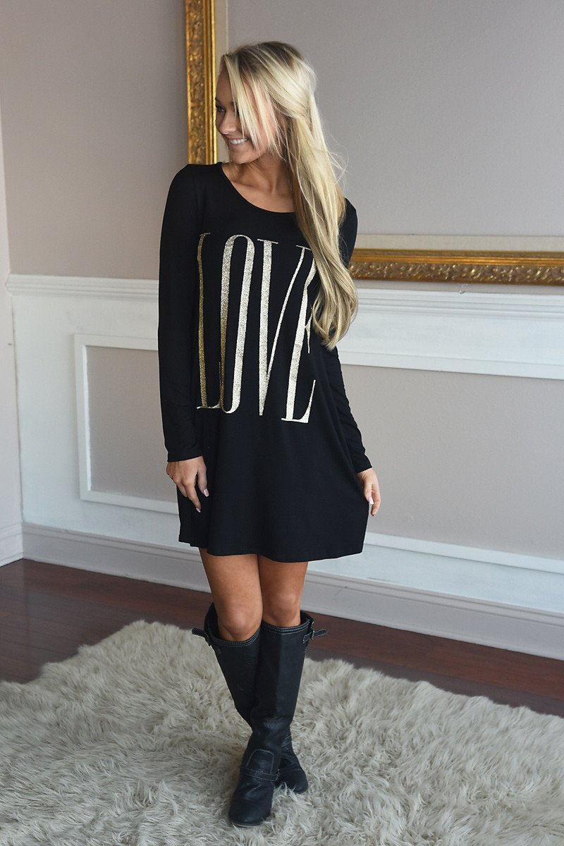 LOVE Tunic Top ~ Black Glitter