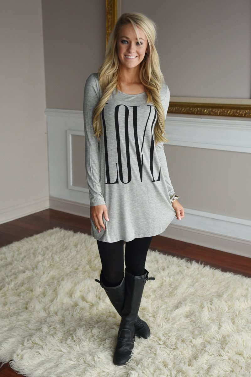 LOVE Tunic Top ~ Heather Grey