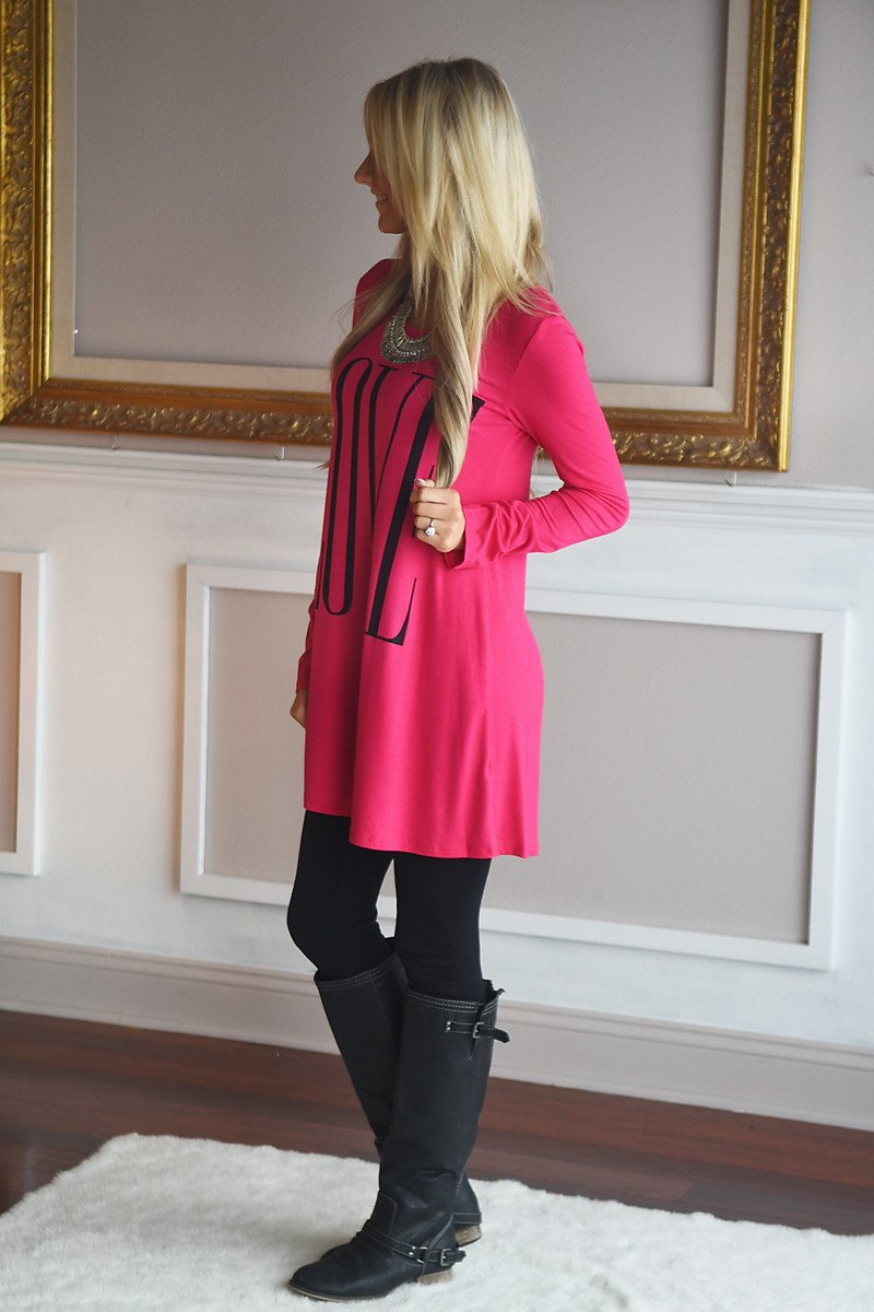 LOVE Tunic Top ~ Hot Pink