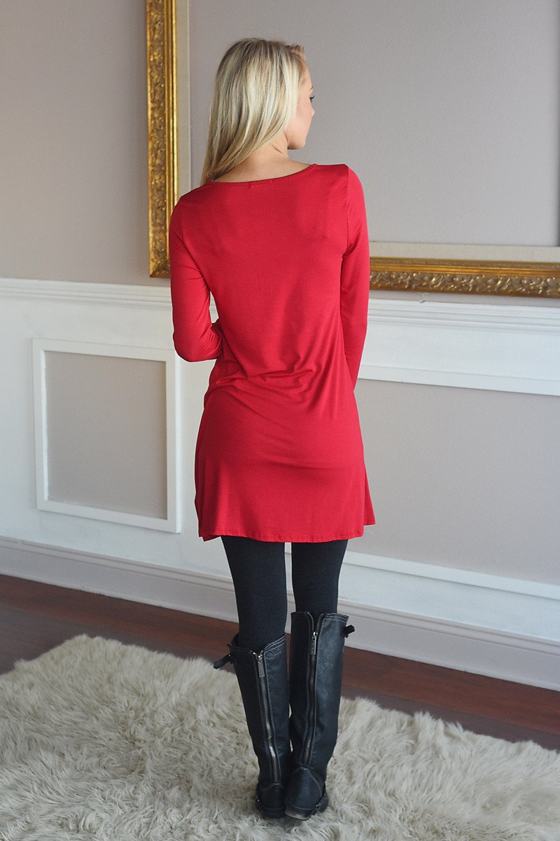 LOVE Tunic Top Red ~ Gold Glitter