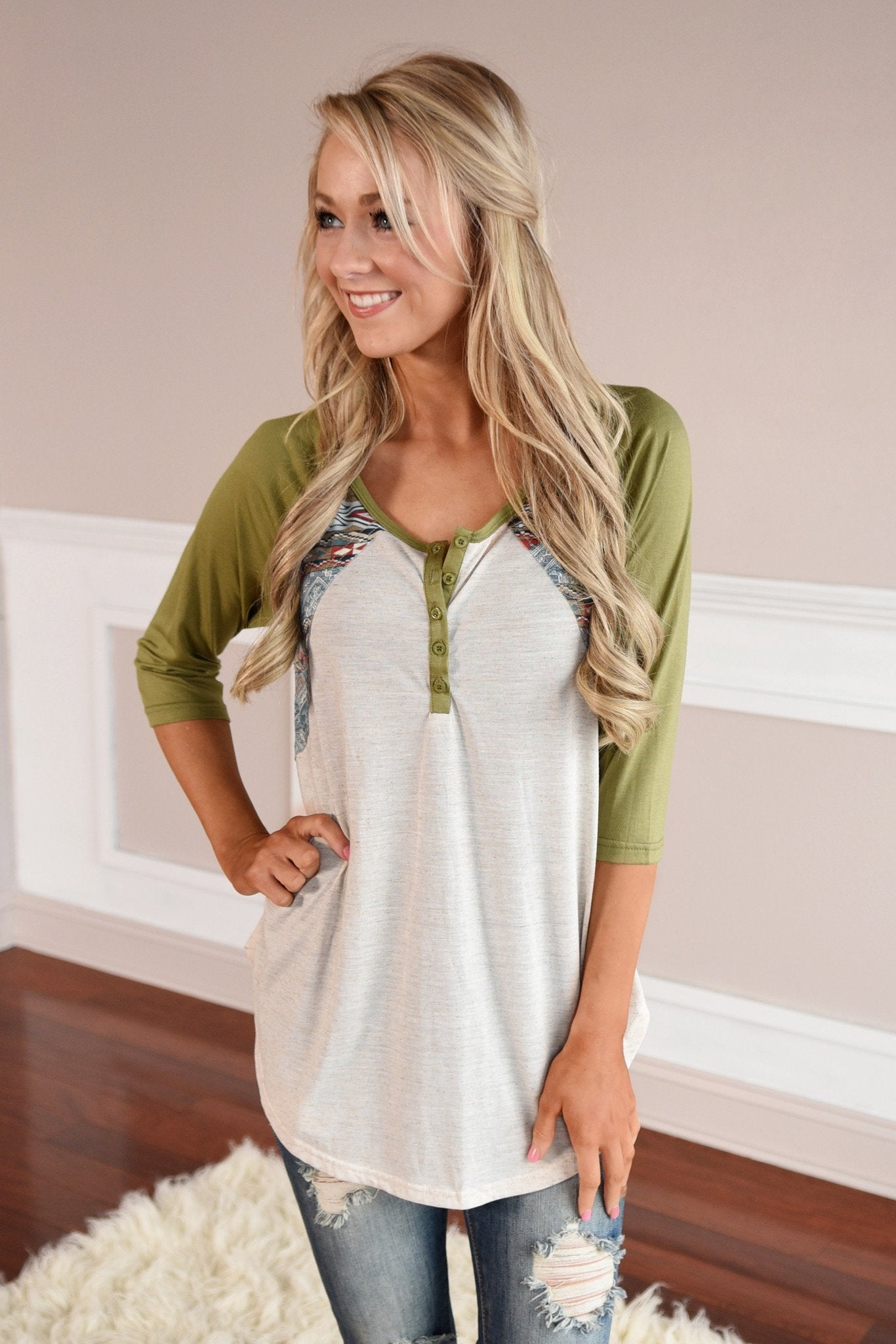 My Lucky Day Top ~ Olive