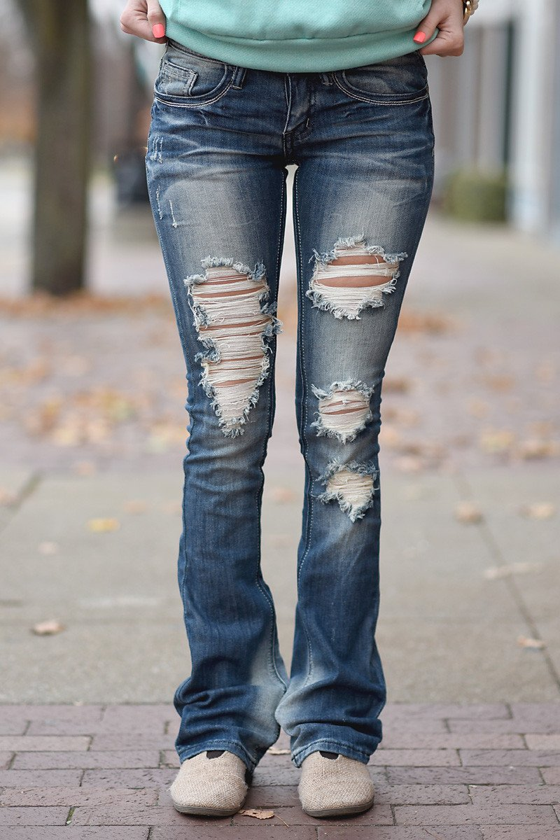 Lucy Wash Distressed Jeans ~ Flare