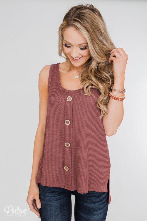 Thermal Button Tank Top- Marsala
