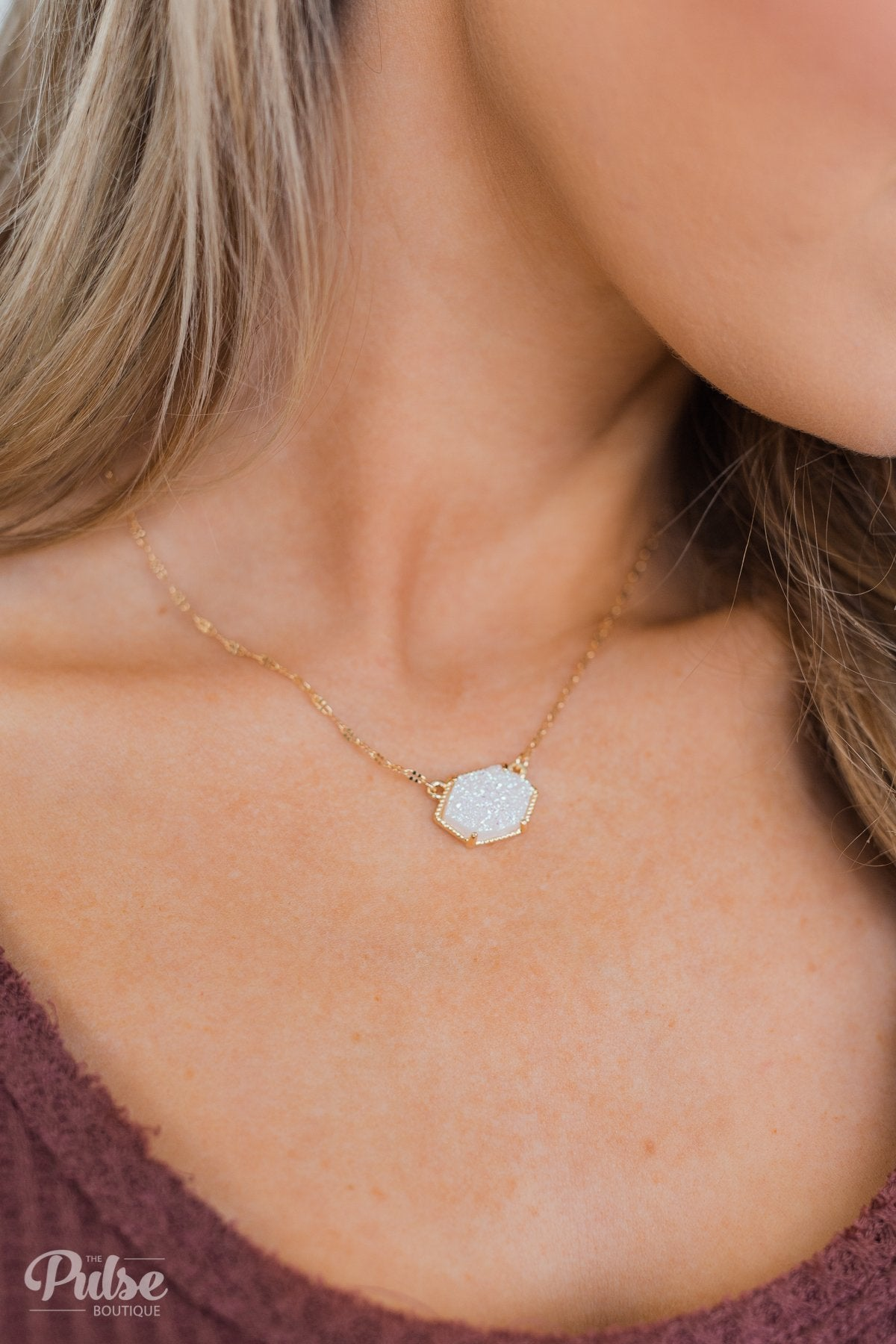 Crystal Pendant Gold Necklace- White