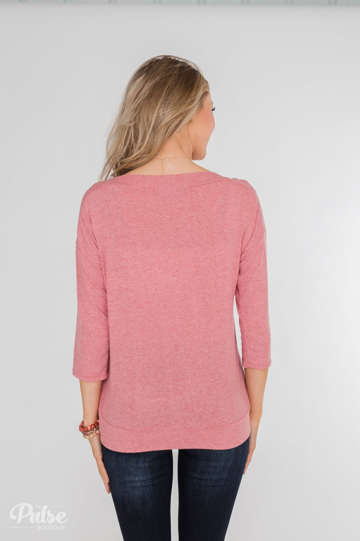 Cute As A Button 3/4 Sleeve Top- Sherbet Pink