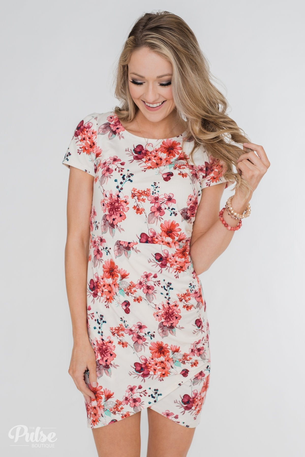 5828fc7c54 Make My Heart Sing Floral Wrap Dress- Cream – The Pulse Boutique