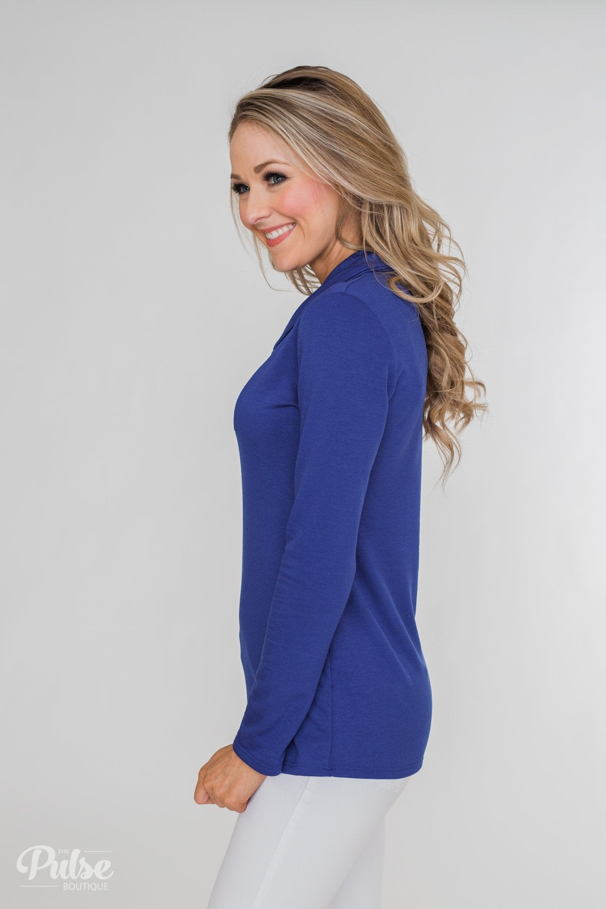 Give Me Time Zipper Pullover Top- Royal Blue
