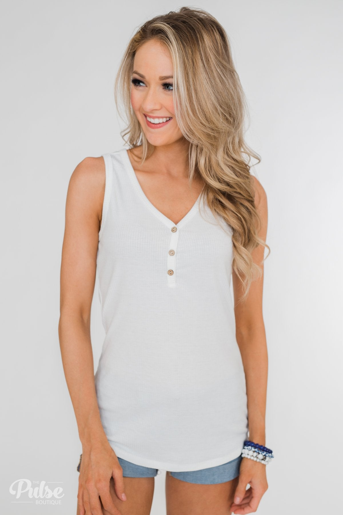 Button Henley Tank Top- Ivory