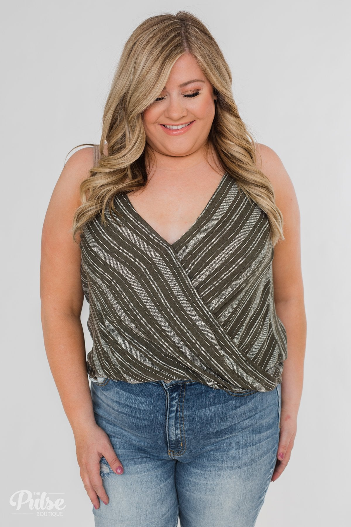 Among the Wild Wrap Detail Tank Top- Dark Olive