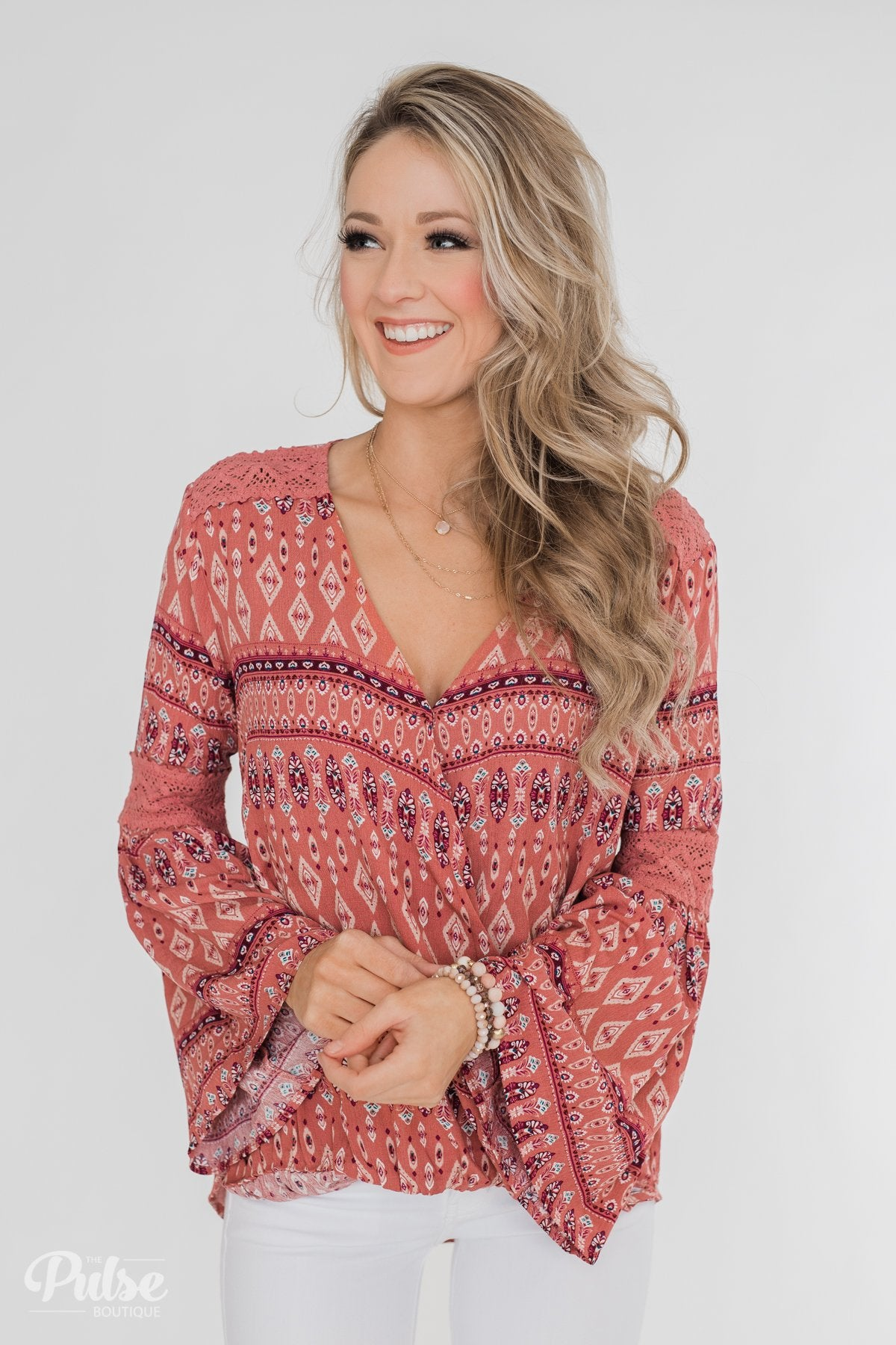 Good Vibes Only Wrap Detail V-Neck Top- Light Rust