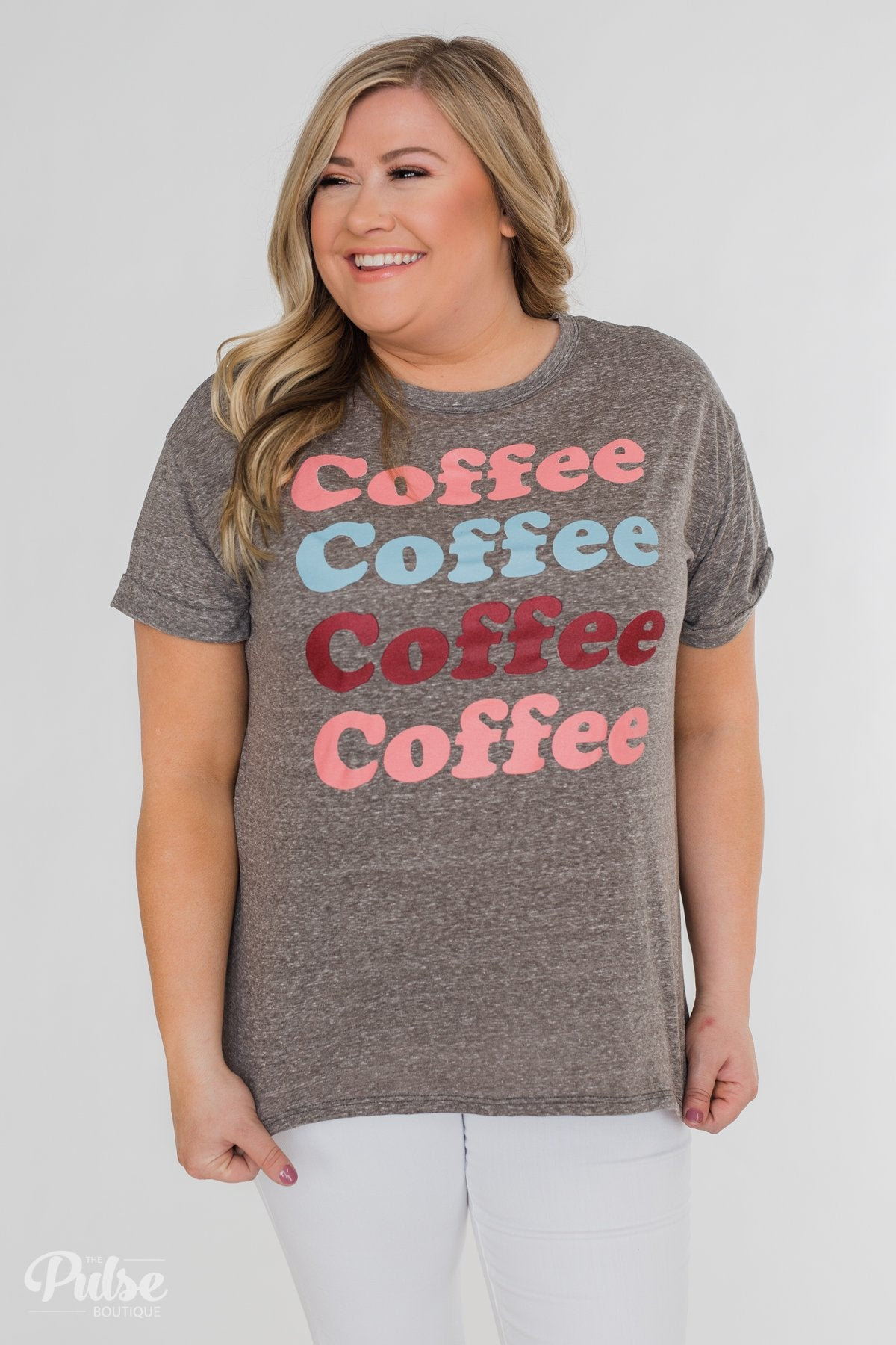 "Multi-Colored ""Coffee"" Short Sleeve Top- Charcoal"