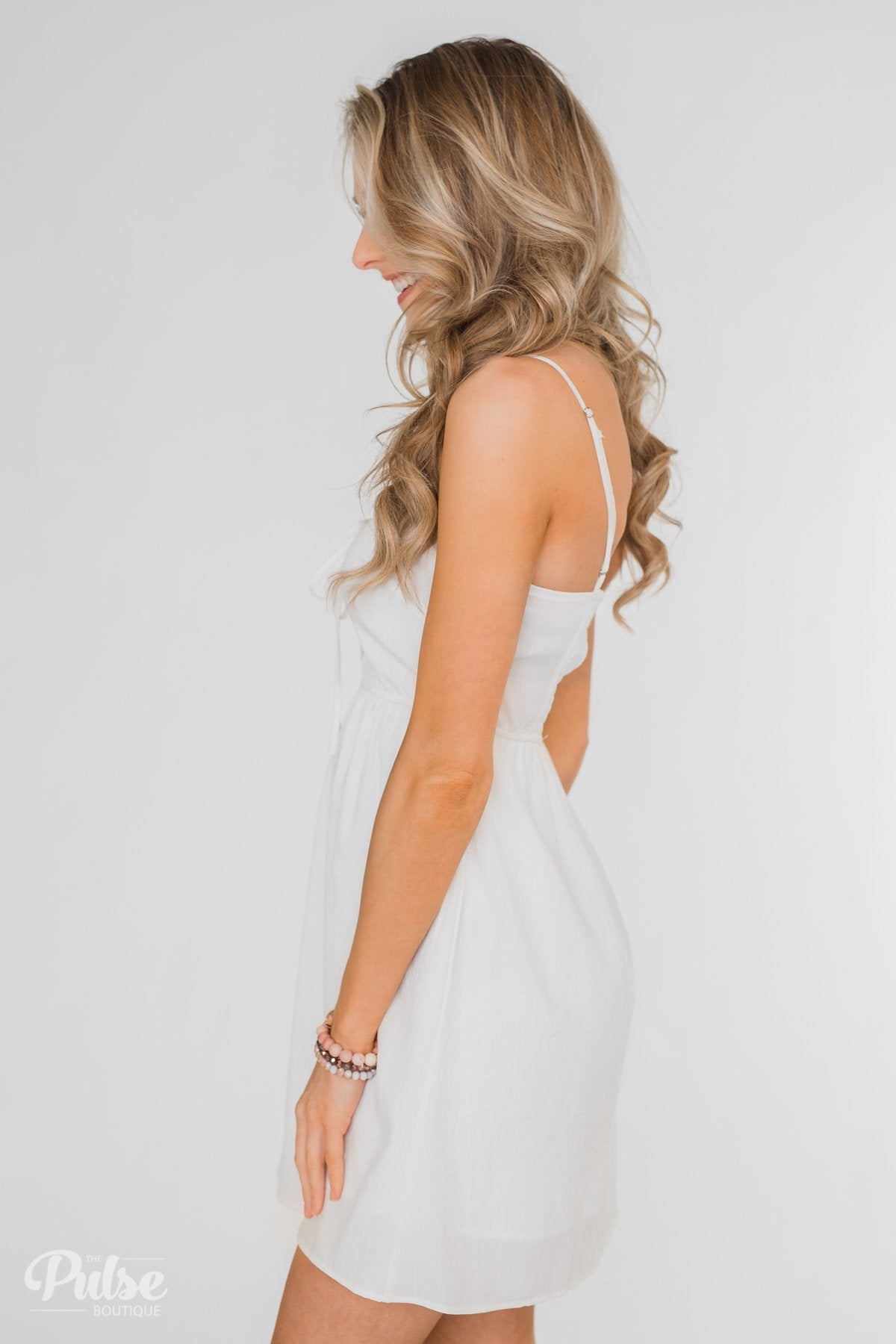 Take Me To Summer Lace Up Dress- Ivory